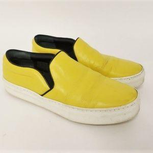 Celine Slip-On Skate Sneaker Yellow Leather Sz 38